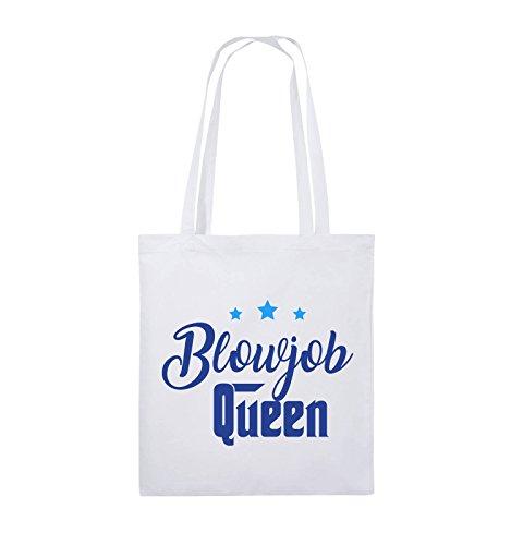 Comedy Bags - Blowjob Queen - Jutebeutel - lange Henkel - 38x42cm - Farbe: Schwarz / Weiss-Neongrün Weiss / Royalblau-Hellblau