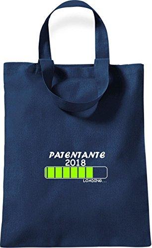 ShirtInStyle kleine Baumwolltasche PATENTANTE 2018 Loading Geburt Geschenk Blau