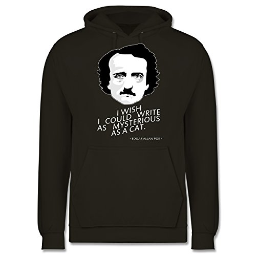 Statement Shirts - Edgar Allan Poe - I wish I could write as mysterious as a cat - Männer Premium Kapuzenpullover / Hoodie Olivgrün