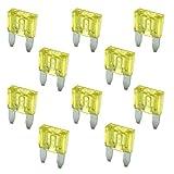 10 Flachstecksicherung Mini-Sicherung 20A / 32V / gelb