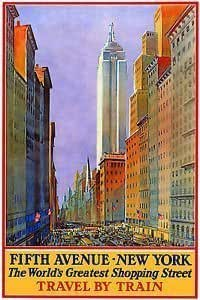 NEW YORK 5th AVENUE Shopping by Train - Vintage Travel Poster - Poster Size : A4