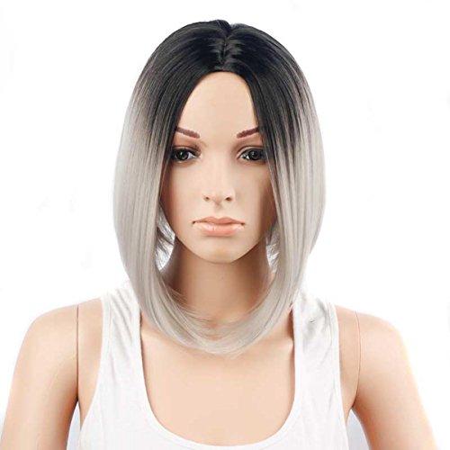 Peluca Corta Para Mujer , Corte Bob Productos De Pelo SintéTico Como Real Pelo - HaoXuan (Negro + gris)