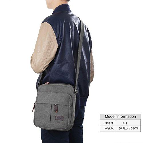 Koolertron Männer Retro Kleine Leinwand-Cross Body Handtasche 17.5x21x10 cm (grau) grau- groß