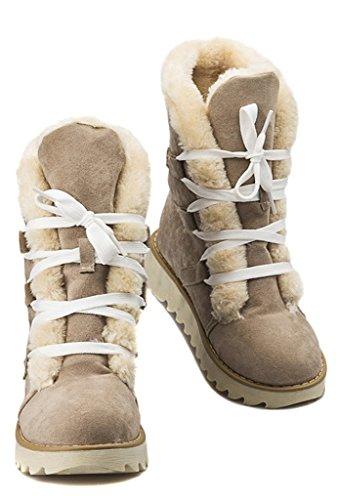 Minetom Donne Inverno Piatto Caviglia Stivali Faux Pelle Caldo Pelliccia La Neve Stivali Lace-Up Scarpe Beige