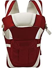 Smilecasters Adjustable Hands-free 4-in-1 with Comfortable Head Support & Buckle Straps Baby Carrier (Maroon)