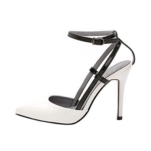 HooH Femmes Cuir Verni Boucle Cheville Escarpin Sandale Blanc