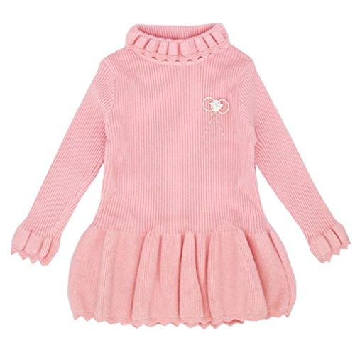 Longra Baby Kinder Mädchen Solid Strickpullover Winter Warm Sueter Häkeln Kleid Tops Kleider Mädchen Baumwolle Herbst-Winter Kleider Kinder Prinzessin Strickkleid (2-6Jahre) (120CM 4Jahre, Pink)