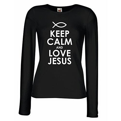 Weibliche Langen Ärmeln T-Shirt Liebe Jesus Christus, christliche Religion - Ostern, Auferstehung, Geburt Christi, religiöse Geschenkideen (Medium Schwarz Weiß)