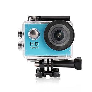 YUNTAB Video Cámara de Acción Cámara Deportiva Impermeable, Full-HD, 1080P, 2.0 Pulgadas Pantalla con LCD, 120 Grados Amplio Lente de Imagen y Vídeo, Apoyo Sumergible hasta 30 m, Accesorios Múltiples para Deportes al Aire Libre (Azul)