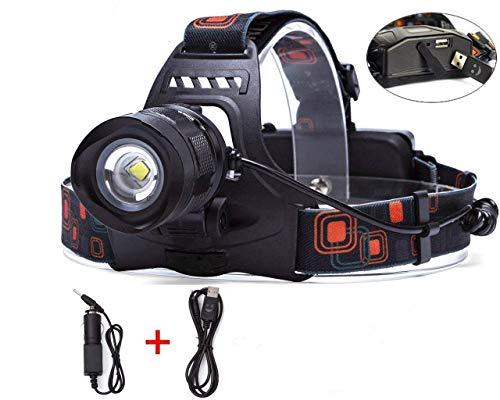 WindFire Wiederaufladbarer LED-Scheinwerfer 2000 Lumen 5 Modi Zoomable Bright Hands Free Taschenlampe mit USB-Ausgang für die Jagd Angeln Reiten Camping Wandern