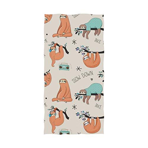 FANTAZIO Premium Baumwoll-Badetuch, langsame Faultiere, extra saugfähiges Handtuch