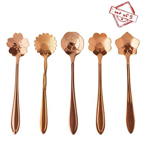 Cucchiai, Cozyswan Acciaio inox Cucchiaio floreali per il pompelmo, gelato, tè, Piccolo caffè, zucchero, gelatina, torta, farina d'avena, Espresso e dessert - cucchiai d'argento, Set di 5 (Oro)