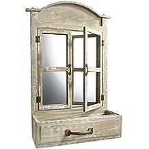 Ausgefallenes Deko Fenster Aus Holz Mit Spiegel Und Einer Schublade Zum  Bepflanzen Von Kobolo