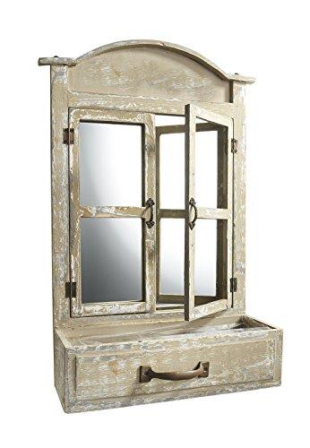 fenster spiegel holz Kobolo Ausgefallenes Deko-Fenster aus Holz mit Spiegel und Einer Schublade Zum Bepflanzen