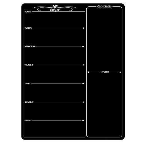 Eachgoo Tableau Noir Magnétique Réfrigérateur, Effaçable Tableau Mémo Aimanté pour Cuisine 30 x 40cm Planning Magnetique Semainier(Noir)