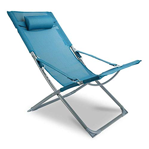 sack-Patio-Aluminiumkampierender faltender Strand-Stuhl, Blau/Grau (Farbe : Blau) ()