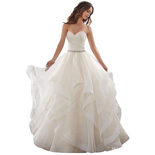 Cloverbridal Elegant Hochzeitskleider Schatz Schnüren Prinzessin Ballkleid Rüschen Weißes Elfenbein Organza Brautkleid -