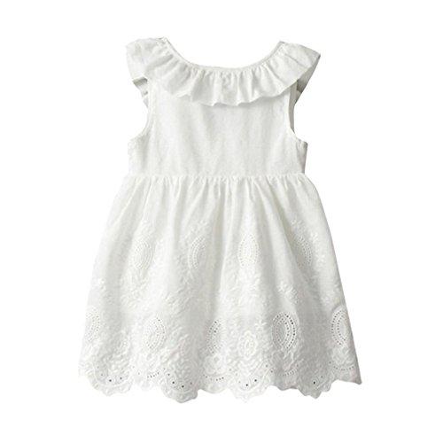 feiXIANG Kleinkind Röcke Kinder Röcke Baby Kleid Mädchen Prinzessin Kleid Party Kleidung Bogen ärmellosen Tutu Kleider Sommer Kleid (2, Weiß) (Weiße Baby-sommer-kleid)