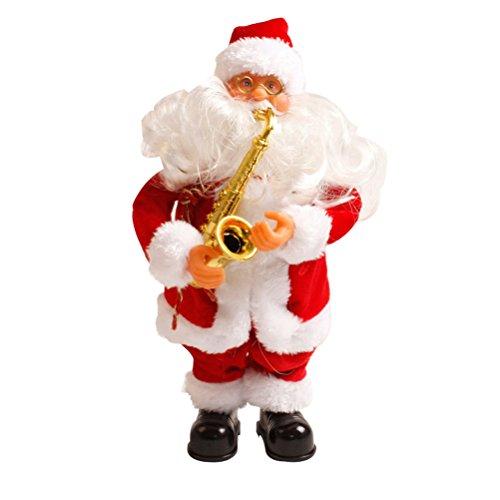 Babbo natale musicale oulii oggettistica a forma di babbo natale con sassofono per regali e decorazioni natalizi