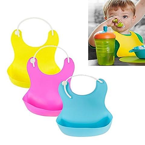 LIVEHITOP Wasserdichte Silikon Baby Lätzchen 3 Stück, Easy Wear Wischen Sauberes, weiches Roll-up-Gebot mit Taschenverstellbares Neckband für Babys und Kleinkinder (Blau, Rose, Gelb)