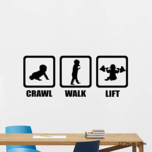 zqyjhkou Crawl Walk Lift Adesivo Nursery Gym Adesivo da Parete in Vinile per Bambini Camera da Letto per Bambini Poster Rimovibile Baby Room Decor 31x56cm