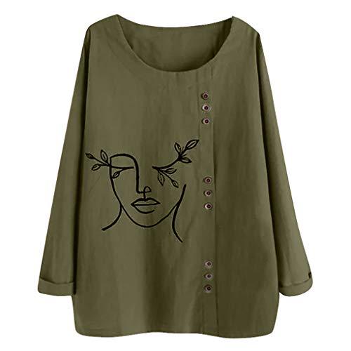 UJUNAOR Damen Tunika T-Shirt Jacquard Oberseiten Beiläufige lose Taste der Frauen Plus Größen-Katzen-Druck-Boho Tanic Hemd-Blusen-Oberseiten (Jacquard-taste)