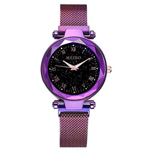 friendGG Sternenhimmel Flache Glas Quarz Mesh Mit Magnetschnalle Damenuhr Damen Uhr Analog Uhren Wrist Watch Steel Armband Casual Armbanduhr üBerwachung Stahl Analoge Uhrenarmband Armbanduhren