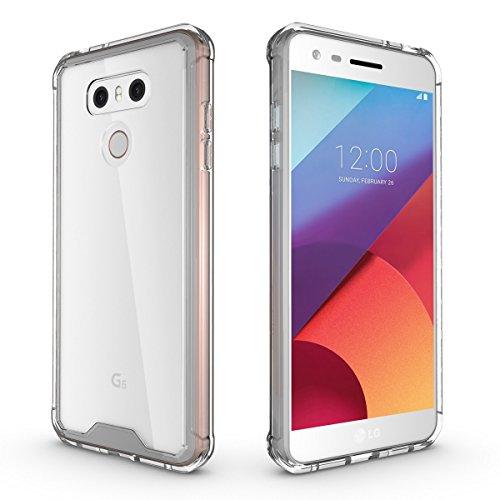 Schutzhülle für LG G6 Hülle, ZCRO Transparent Clear Hart Back Hard Case Handyhülle Silikon Weich TPU Rahmen Frame Bumper Hüllen Schale Stoßfest Etui Handytasche für LG G6 - Transparent Rahmen