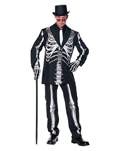 (Horror-Shop Schwarz-weißer Skelett Kostüm-Anzug für Day of the Dead & Halloween)