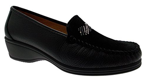 mocassino pelle camoscio nero zeppa borchie art K3947 36 nero