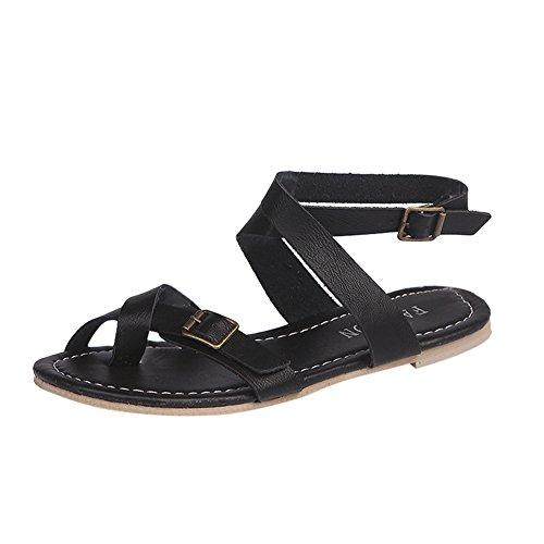 n Wohnungen Schuhe Elegant Rutschfeste Römer Peep Toe Kreuzgurt Reißverschluss Typ Coole Strand Urlaub Schwarz Grau 40 ()