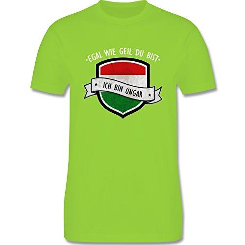 Shirtracer Länder - Egal wie Geil Du BIST - Ich Bin Ungar - Herren T-Shirt Rundhals Hellgrün