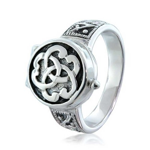 Bling Jewelry Triquetra Celtic Knot Cremation Urn Locket Sterling Silver Ring