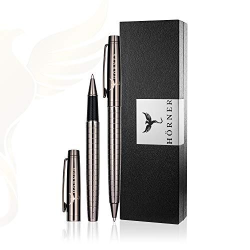 HÖRNER Urban Set - Hochwertiger Kugelschreiber und Tintenroller schwarz aus Metall in edler Geschenkbox