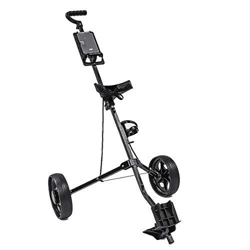 Golf Push Cart, Lite 2 Rad Golf Cart Aluminiumlegierung Golf Cart Faltwagen mit Bremse (Push Holder Golf Cart Cup)