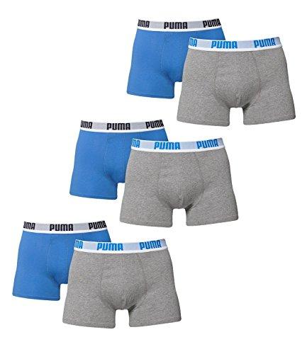 PUMA Herren BASIC Boxer Boxershort Unterhose 6er Pack in vielen Farben blue / grey