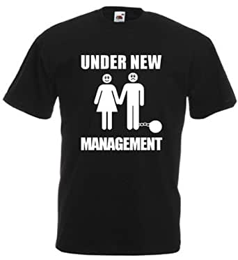 Under New Management - Men's Funny Stag Night T-Shirt (Small, Black)