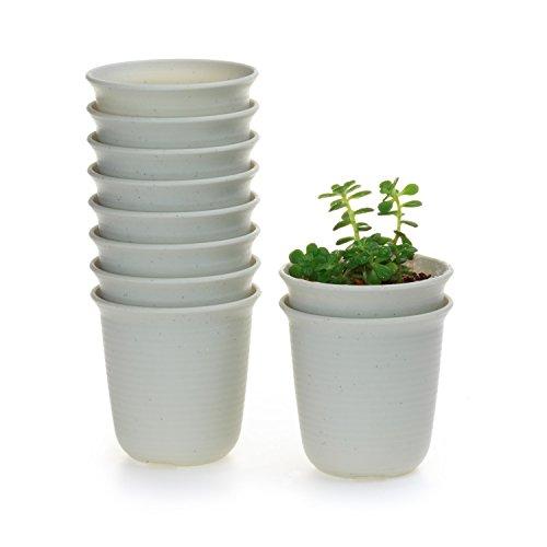 Galleria fotografica T4U 9CM set of 10 Rotondo di plastica Plastica Vaso di Fiori Pianta Succulente Cactus Vaso di Fiori giardino i vasi di fiori vasi di piante.
