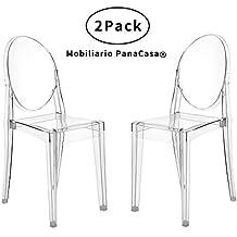 Songtree - (2 x Pack) Sillas Transparentes Material Policarbonato Super Durable Buen Diseño Elegante