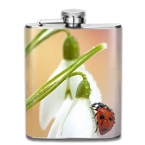 Gxdchfj Stainless Steel Hip Flask 7 Oz (No Funnel) Ladybug On Lily Full Printed Full-dekanter