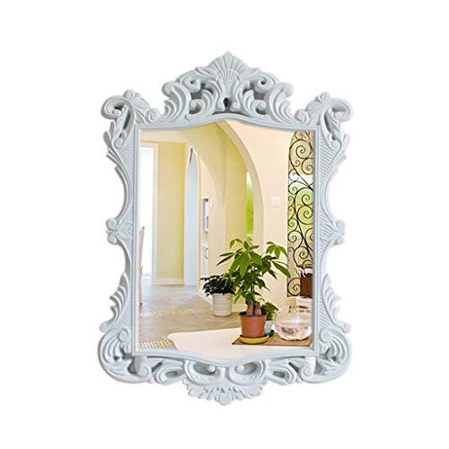 Moolo Schminkspiegel Wandspiegel Dekor Oval, Klein Weiß Oval Vintage Wandspiegel Reich Verzierter Rahmen 16,5