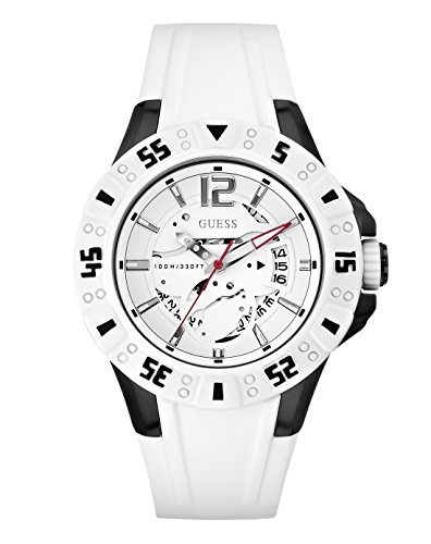 Guess Magnum W0034G5 - Reloj analógico de cuarzo para hombre, correa de silicona color blanco