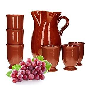 MamboCat 7tlg.-Set: Tonkrug 1.9L + 6 Tonbecher 200ml Ton-Geschirr rotbraun glasiert Servier-Kanne Trink-Tassen mediterrane Küche Wein-Fest Mittelalter-Markt