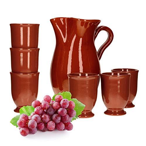 MamboCat 7tlg.-Set: Tonkrug 1.9L + 6 Tonbecher 200ml Ton-Geschirr rotbraun glasiert Servier-Kanne Trink-Tassen mediterrane Küche Wein-Fest Mittelalter-Markt -