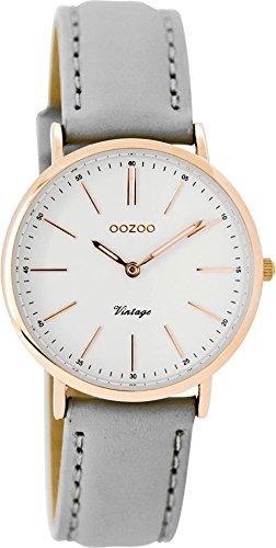 Oozoo Vintage Damenuhr Lederband 32 MM Rose/Weiss/Grau C8820