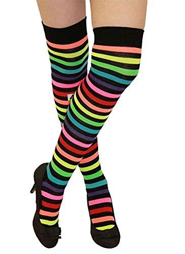 B&S Trendz Erwachsene Damen Man Kinder Clown Outfit Stage Party Kleinkind Fancy Dress Zubehör Gr. Einheitsgröße : Regulär, Neon Rainbow Socks