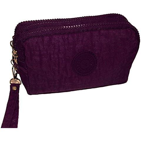 rnow 3cremalleras gran estuche Mini correa de embrague bolsas, color morado L: 17CM*11CM*6CM