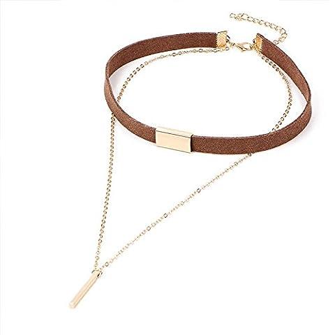 PinzhiBrown Samt Legierungs Ketten Choker Halsketten Mehrschichtiger Charme-Metallstab-hängende Schellfisch-Kragen-Halsketten-Frauen-Art- und Weiseschmucksache-Geschenk-Zusätze