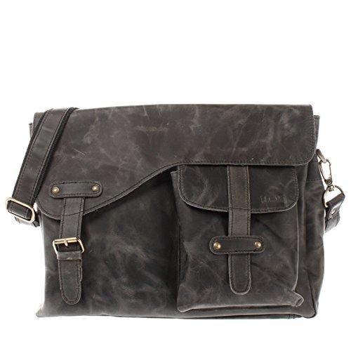LECONI Messenger Bag DIN A4 Leder Damen Herren Ledertasche Schultasche Retro look Collegetasche natur 38x28x12cm LE3032 Grau