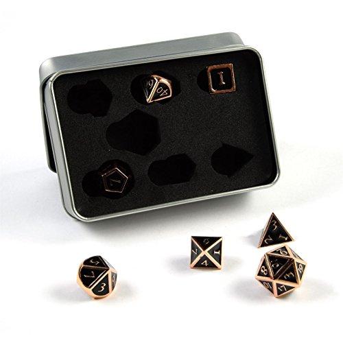 shibby 7 polyedrische Metall-Würfel für Rollen- und Tabletopspiele in Steampunk Kupfer-Schwarz-Optik inkl. Aufbewahrungsbox